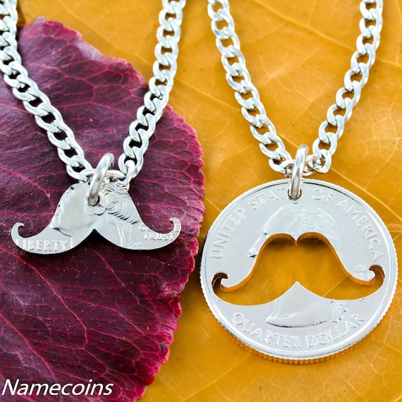 Mustache BFF Necklaces, Best Friends Gifts, Inside and Outside Relationship Necklace hand cut coin