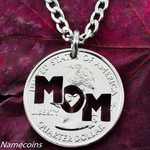 Mom Necklace, Mothers Gift, hand crafted cut coin jewelry