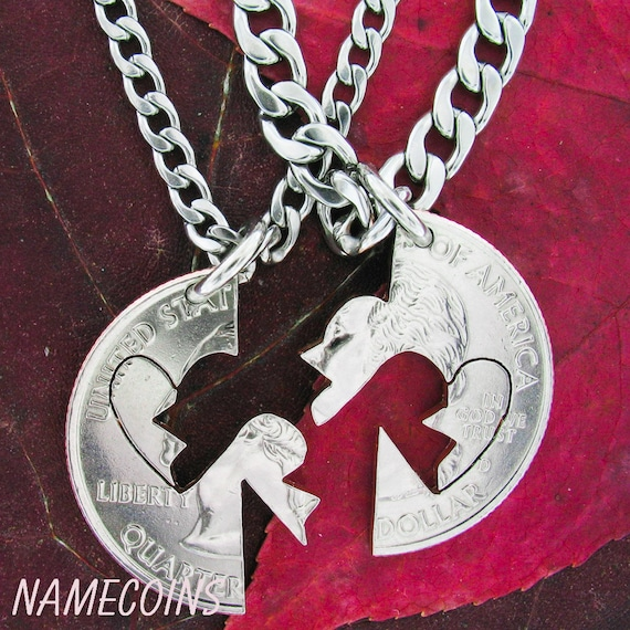 Broken Heart Jewelry - Only complete When Together, Love Quarter, Couples Hand cut Coin puzzle