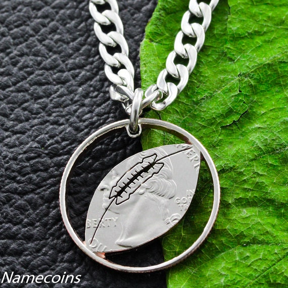Football Necklace, Sports Gifts for boys, Hand Cut Quarter