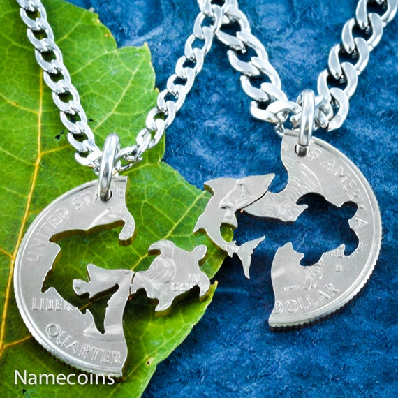 Shark and Turtle BFF Necklace, Friendship Set, Best Friends Forever, Interlocking Hand Cut Coin