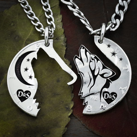 Wolf and Moon Couples necklaces with Initials in Heart, Relationship or Best Friends jewelry, Coin that has been cut and etched