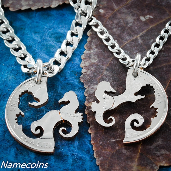 Seahorse BFF Necklaces, Friendship Jewelry, Interlocking Like A Puzzle, Hand Cut Coin