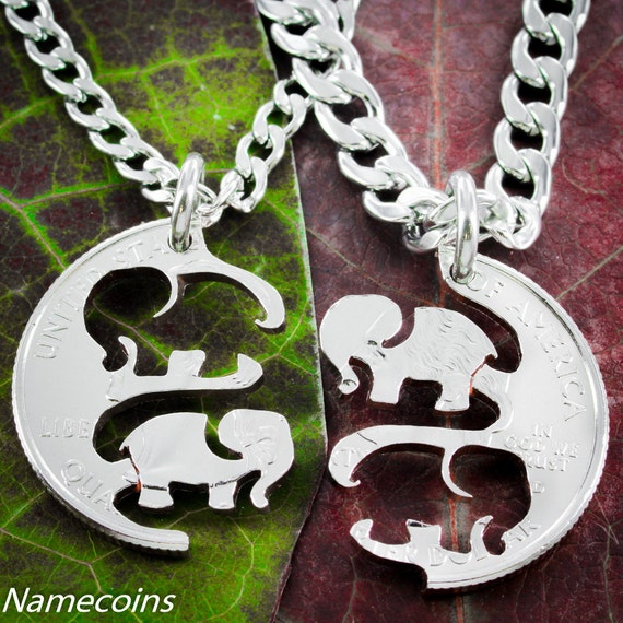 Elephant BFF Necklaces for 2, Best Friend or Couples Gifts, Interlocking Like a Puzzle Jewelry Set, Hand Cut From A Coin