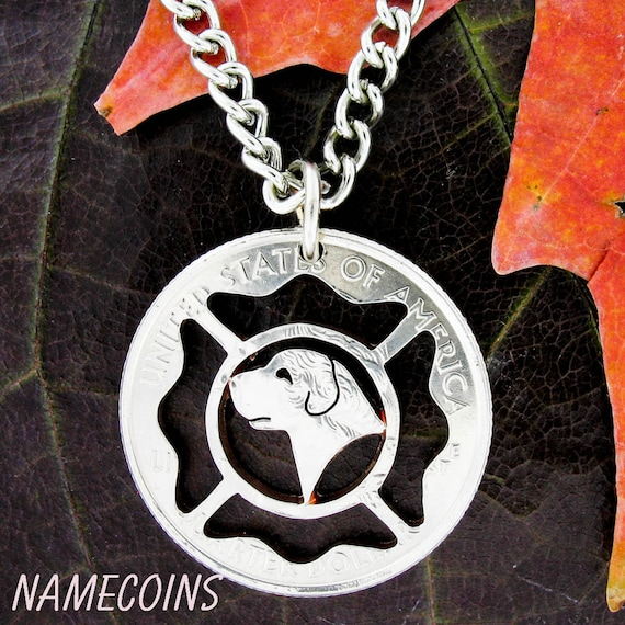 Firefighter Necklace and Fire Dog Custom Cut Coin