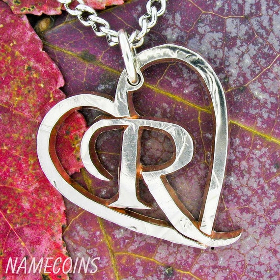 Heart with Initial Necklace, Personalized Monogram, Hand Cut Coin