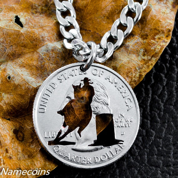 Barrel Racer Necklace, Western Jewelry, Hand Cut Coin
