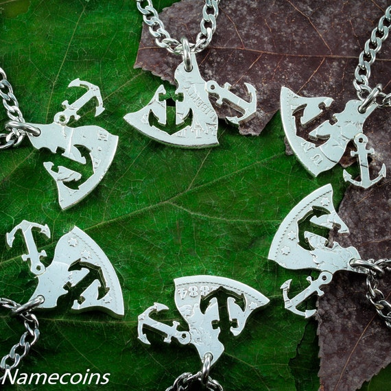 Anchors Away, 6 Piece Family or Best Friends Necklaces, Real Silver Dollar