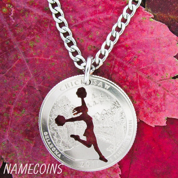 Cheerleader Necklace, Women's Sports, hand cut coin
