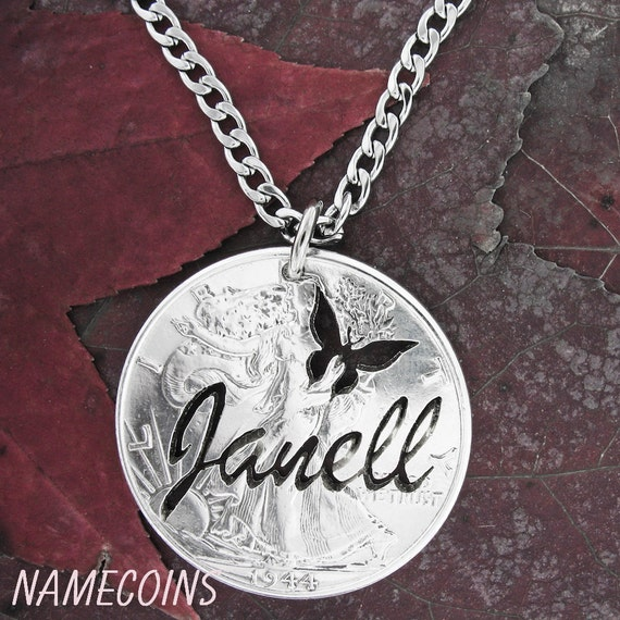 Silver Name Necklace with Butterfly, Personalized hand cut real silver coin