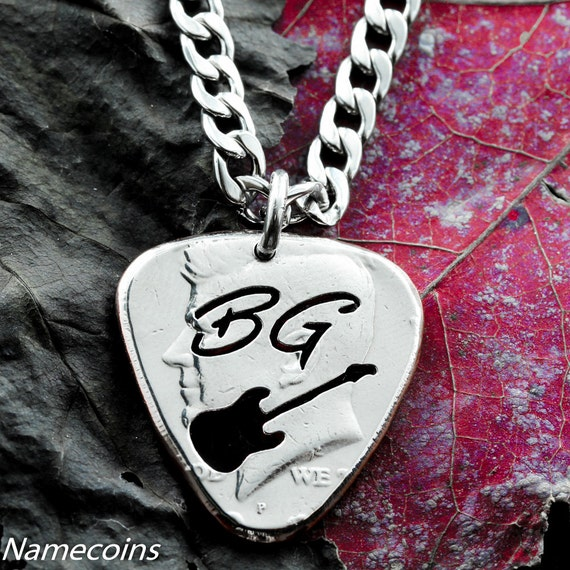 Guitar Pick necklace with Thin Cursive Initials Cut Half Dollar