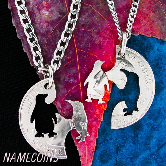 Penguin Best Friends Necklaces, GFF Gifts, Hand cut coin Jewelry