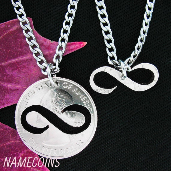 Infinity Necklace, Couples Jewelry or Best Friend, BFF Gifts,  Special Quarter, hand cut coin