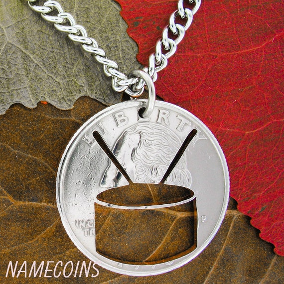 Snare Drum Necklace, Marching School Band, Hand Cut Coin