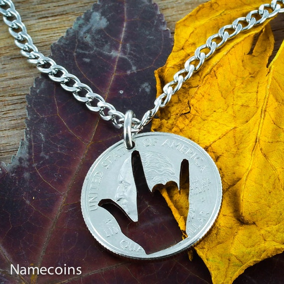 ASL I Love You Necklace, Deaf Jewelry, Hand Cut Coin