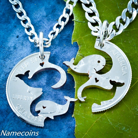 Whale Necklaces for Best Friends and Couples, Couples Jewelry hand cut coin