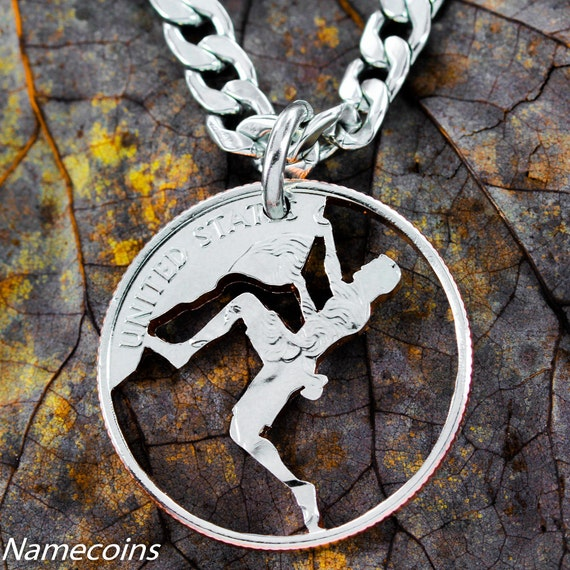 Rock Climbing Gifts, Rock Climber Necklace, Sports Gifts For Men, Mountain Climbing Necklace, Guy Gifts, Hand Cut Coin