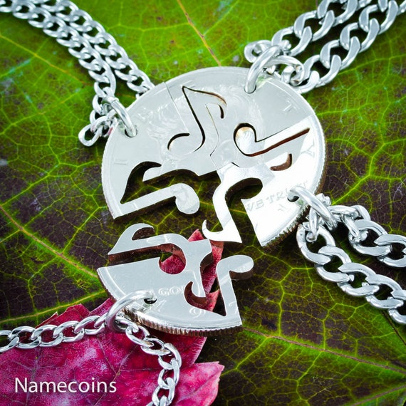 4 Best Friends Necklaces, Music Note Interlock Like A Puzzle, BFF Gifts, Hand Cut Coin