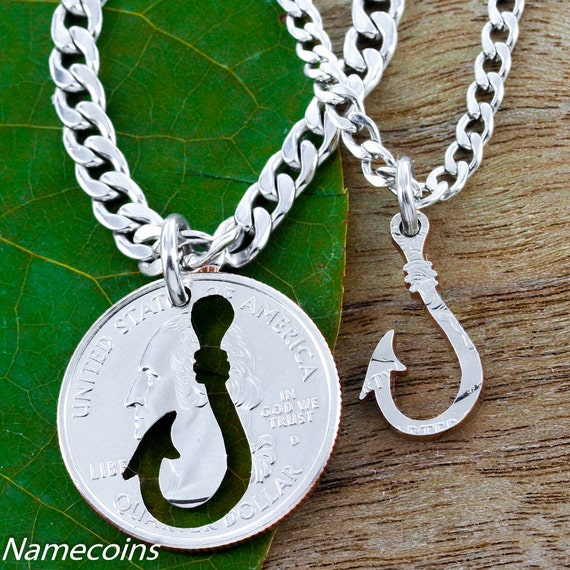 Fish Hook Couples or Best Friend Necklaces, Fishing Gift, Hand Cut Coin