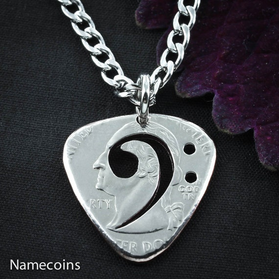 Bass Clef Guitar Pick Necklace, cut and burnished from quarter, hand cut coin