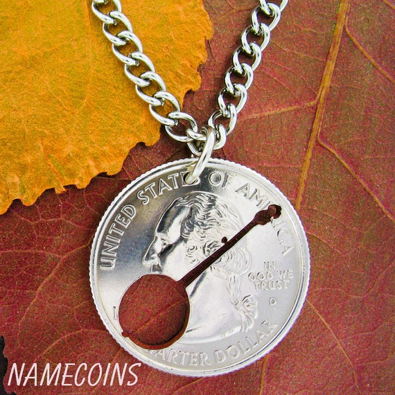 Banjo Coin Necklace, Musical Jewelry