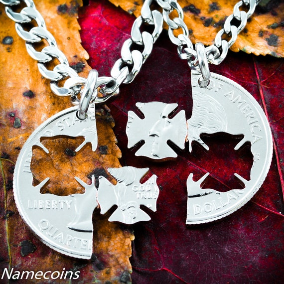Firefighter and Wife Necklace set, Couples Necklaces, interlocking quarter