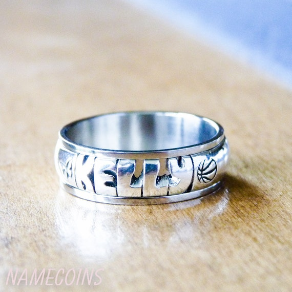 Triband Sterling Silver Personalized Hand Cut Name Ring