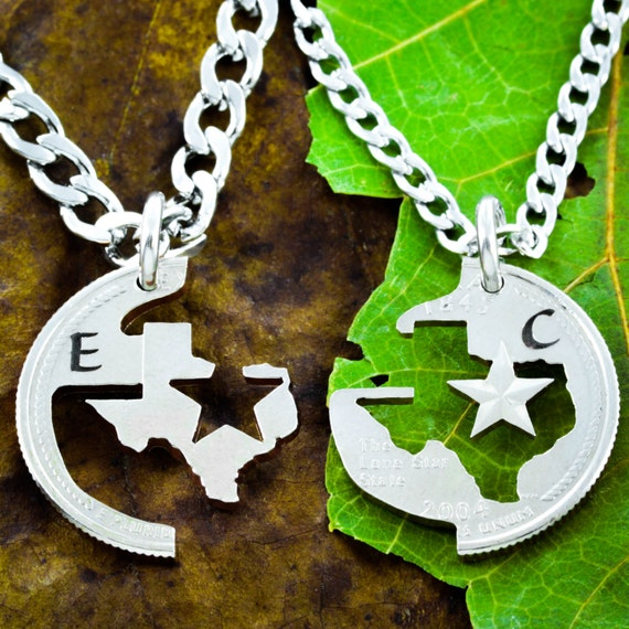 Texas State Couples Necklaces, Initial Jewelry, Lone Star His and Her, BFF Gift, Hand Cut out of a Real State Quarter