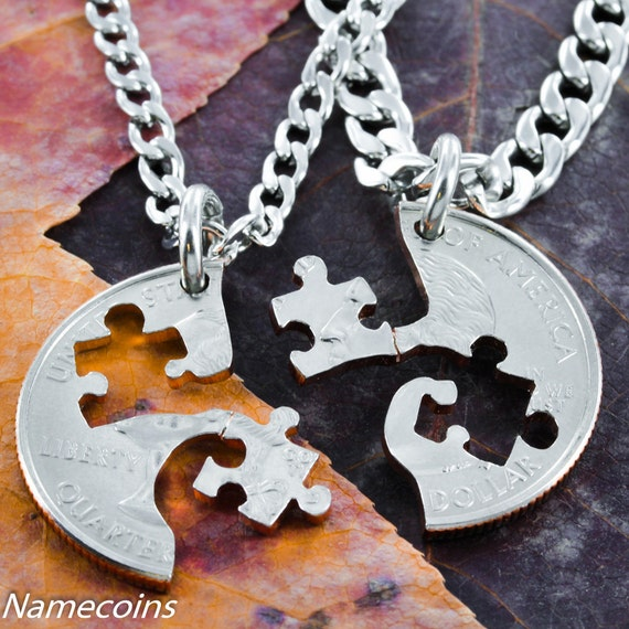 Puzzle Piece BFF Necklaces for 2, Couples or Friendship Interlocking Love Quarter, Hand Cut Coin
