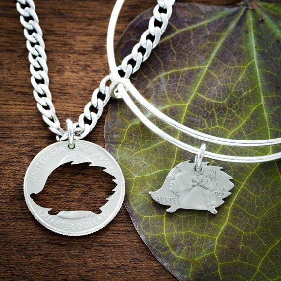 Hedgehog BFF Bracelet and Necklace, Best Friends gift, Hand cut coin
