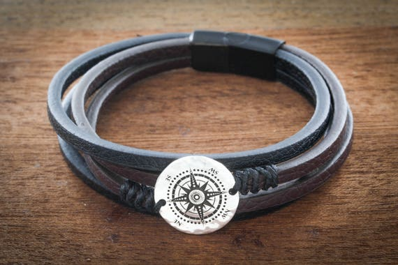 Fine Leather and Silver Compass Bracelet, Hand Sewn, Engraved on a real Silver Old US Coin