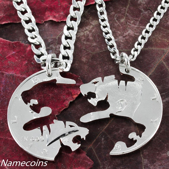Tiger BFF Necklaces for 2, Best Friends or Couples Gifts, Boyfriend and Girlfriend Gift  friendship necklaces, hand cut coin.