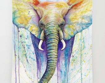 Wall Tapestry Elephant // Colorful, watercolor,painting,artwork,wall hanging,wildlife,animals,animal art,abstract,rainbow,bohemian,festivals