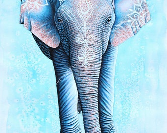Print Mandala Elephant Watercolor // Asian, art, nature, painting, bohemian, boho,blue,animals,animal art,beautiful,hippy,spiritual,eastern