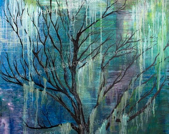 Print Tree in Oil //abstract,woodland,forest,tree,magical,mystical,fairy,green,blue,nature,painting,art,artwork,print,bohemian,hippie,scenic