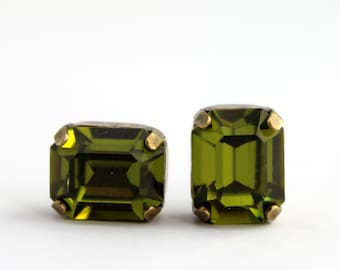 Olivine earrings, Green Swarovski earrings, Olive earrings, Olivine Swarovski earrings, olivine post, octagon earrings, olivine studs,