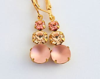 Rose Peach earrings, Rosaline earrings, light pink earrings, Peach wedding, peach Bridesmaid earrings, Spring wedding, frosted peach
