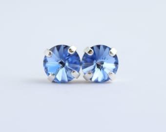 Swarovski light sapphire earrings, Swarovski earrings, silver and blue stud earrings, pale blue earrings, blue studs, light blue studs