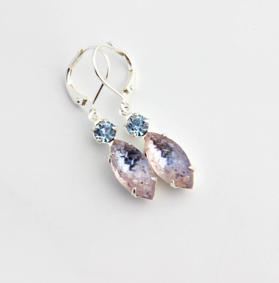 78bc756fa9f888 Ice blue earrings sapphire blue navette earrings small