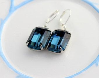 Swarovski Montana Blue earrings, Navy blue earrings, Montana earrings, Swarovski earrings, winter wedding, octagon, Bridesmaid earrings