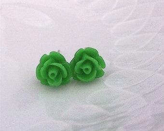 PIXIE - green lime rose flower stud earrings