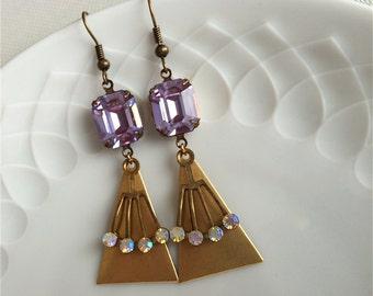 RAFFAELA - geometric earrings,brass,purple,lilac,aurora,borealis