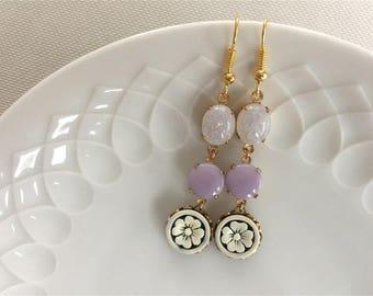 ALJONA - rhinestone,earrings,crackle,lilac,flower