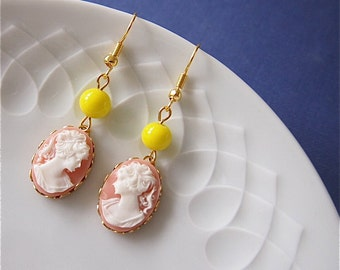 SALLY - earrings,lady,cameo,cabochon,chartreuse,light,pink,coral,white,yellow