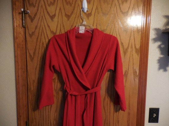 94f9a8541a Items similar to Vintage Bright RED Polyester Chenille ROBE - Plush Red  Line Design Vintage Chenille BATHROBE - Tagged Size 10 - Free Shipping on  Etsy