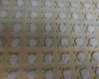 """Morgan Jones YELLOW with White ROSEBUDS and Buttonhole Designs Vintage Chenille Bedspread Fabric - So Pretty - 18"""" X 35"""""""