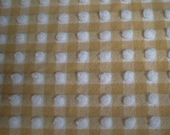 """RARE Morgan Jones Golden Yellow and White GINGHAM with White POPS Vintage Chenille Bedspread Fabric- 21"""" X 24"""""""