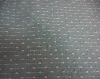 "Rare BATES Light TURQUOISE with WHITE Pinstripes and Pops Vintage Chenille Bedspread Fabric - 21"" X 24"" - #1"