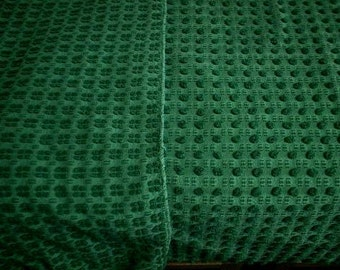 """Morgan Jones Christmas or Forest GREEN Double Sided POPS Vintage Chenille Bedspread Fabric - 24"""" X 25"""" - #1"""