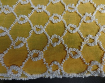 BATES Golden Yellow with White CHICKENWIRE Design Vintage Chenille Bedspread Fabric - #2